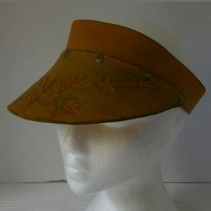 Vintage Leather Tooled Visor Snapback Hat